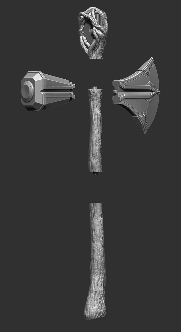 ZBrush render with all of the parts booleaned out so it can be printed in pieces.