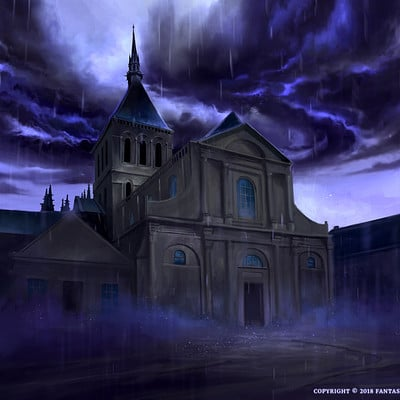 Nele diel storm over the church