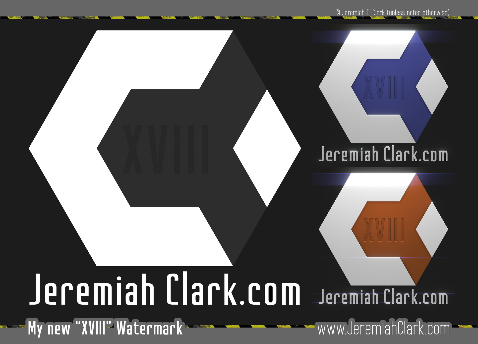 "My new ""XVIII"" watermark, showing a flat render, and a few 3d renders with different colors."