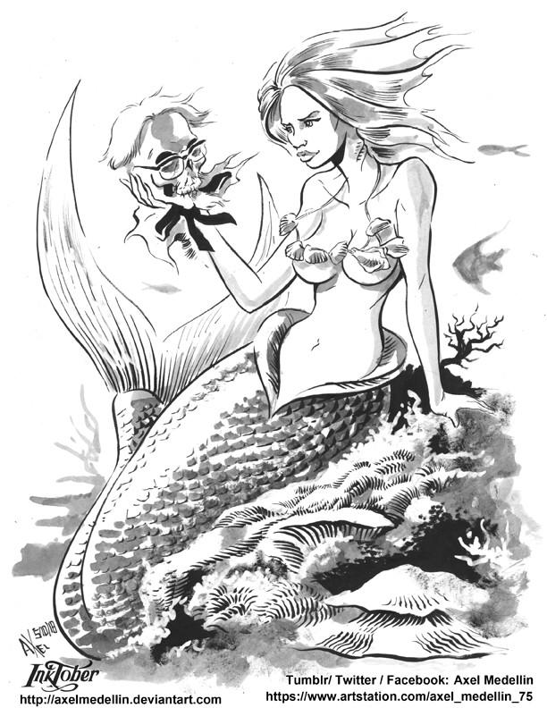 Inktober, day 5. Mermaid