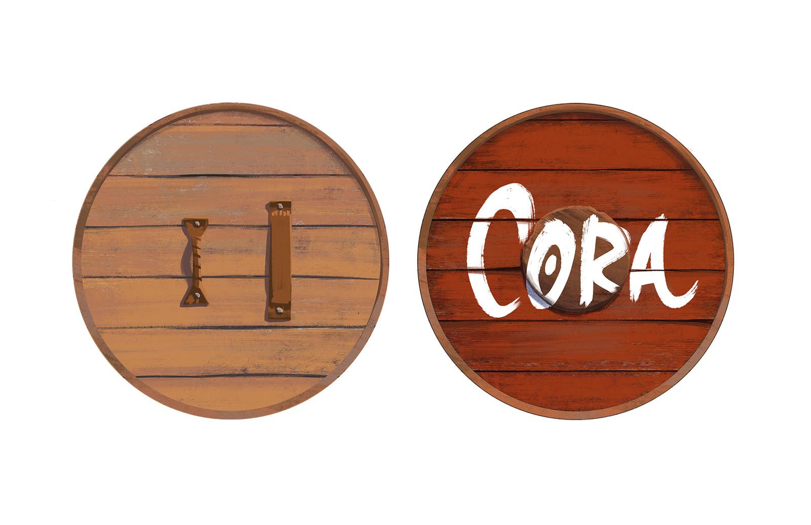 Cora's wooden shield