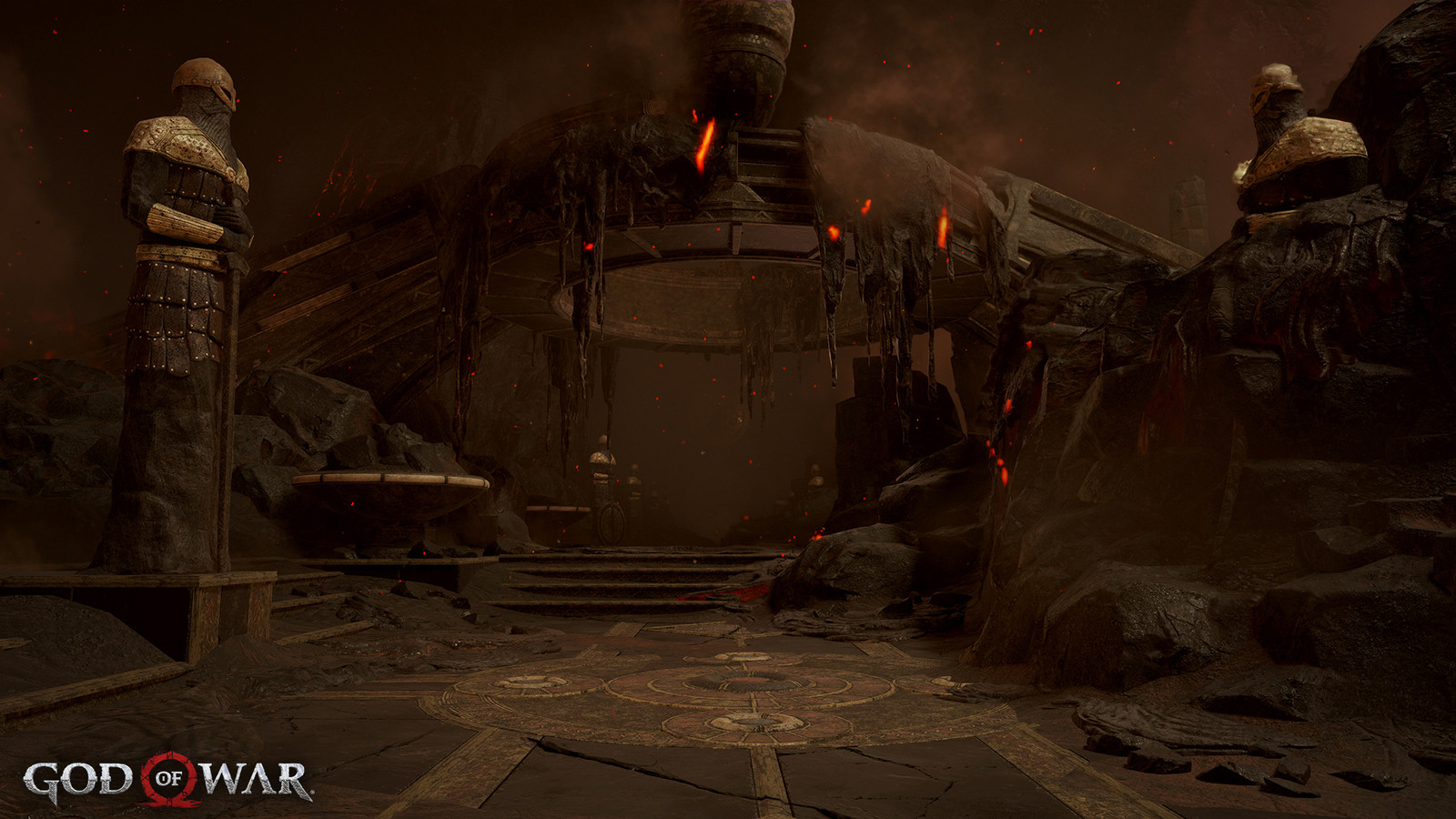 Caldera bridge was provided to us. I made new mat swaps for Muspelheim's version of the bridge. Reza Fakharieh did the first lighting pass, I took over to do more iterations plus doing the color grading. I also did the set-dressing and perf work.