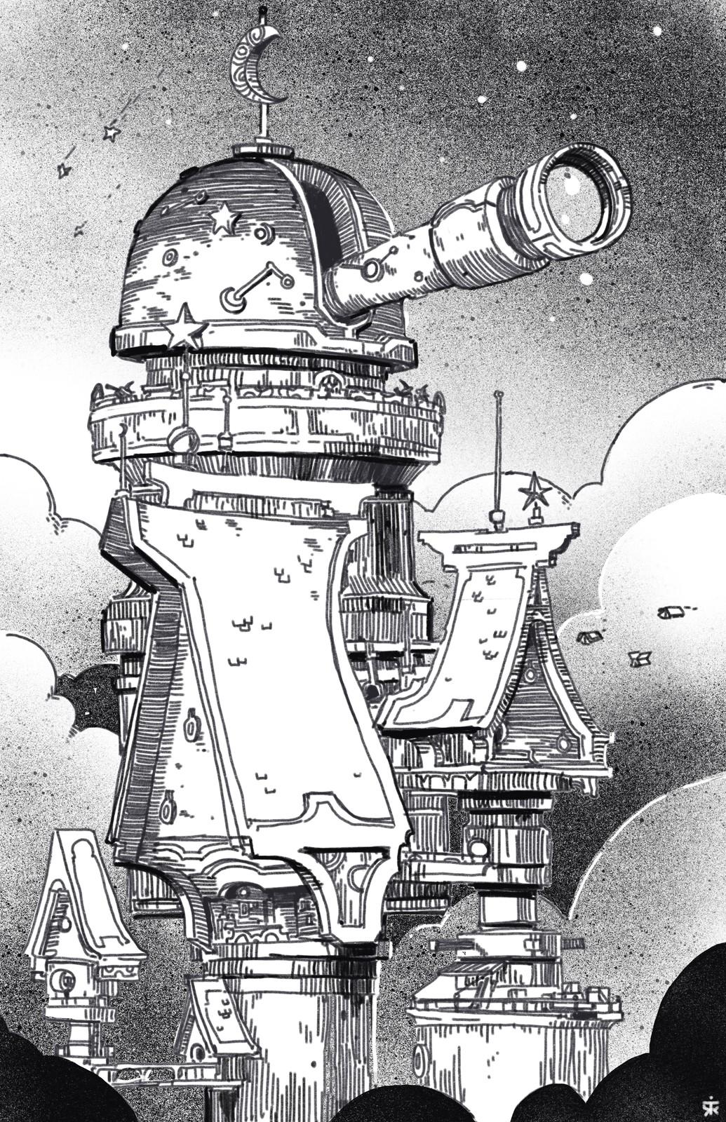 Inktober Day 8: Observatory ✨🌗🌕✨