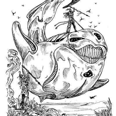Anti Gravity Whale; Inktober 08 2018