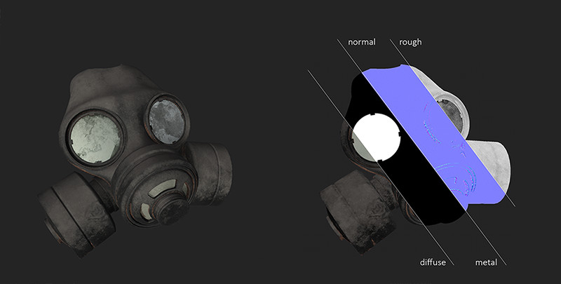 Texture breakdown for gas mask.