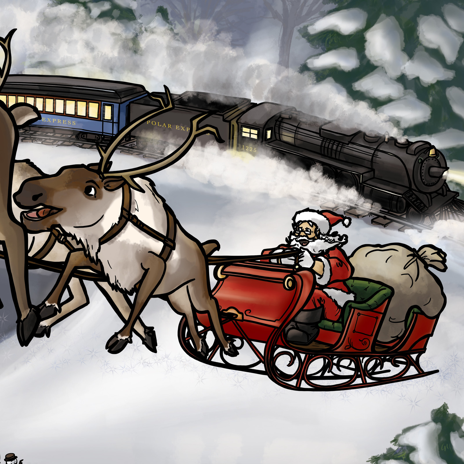 Santa and train detail