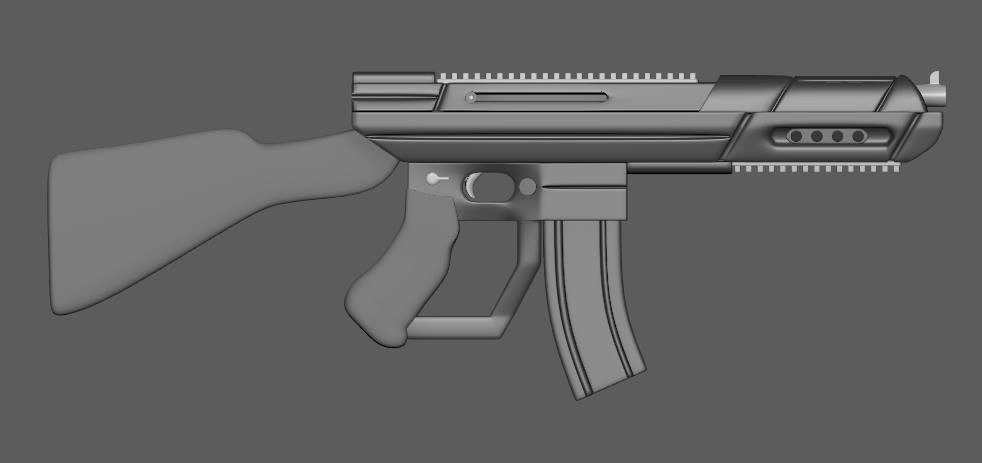 Rifle model before color and shape adjustments
