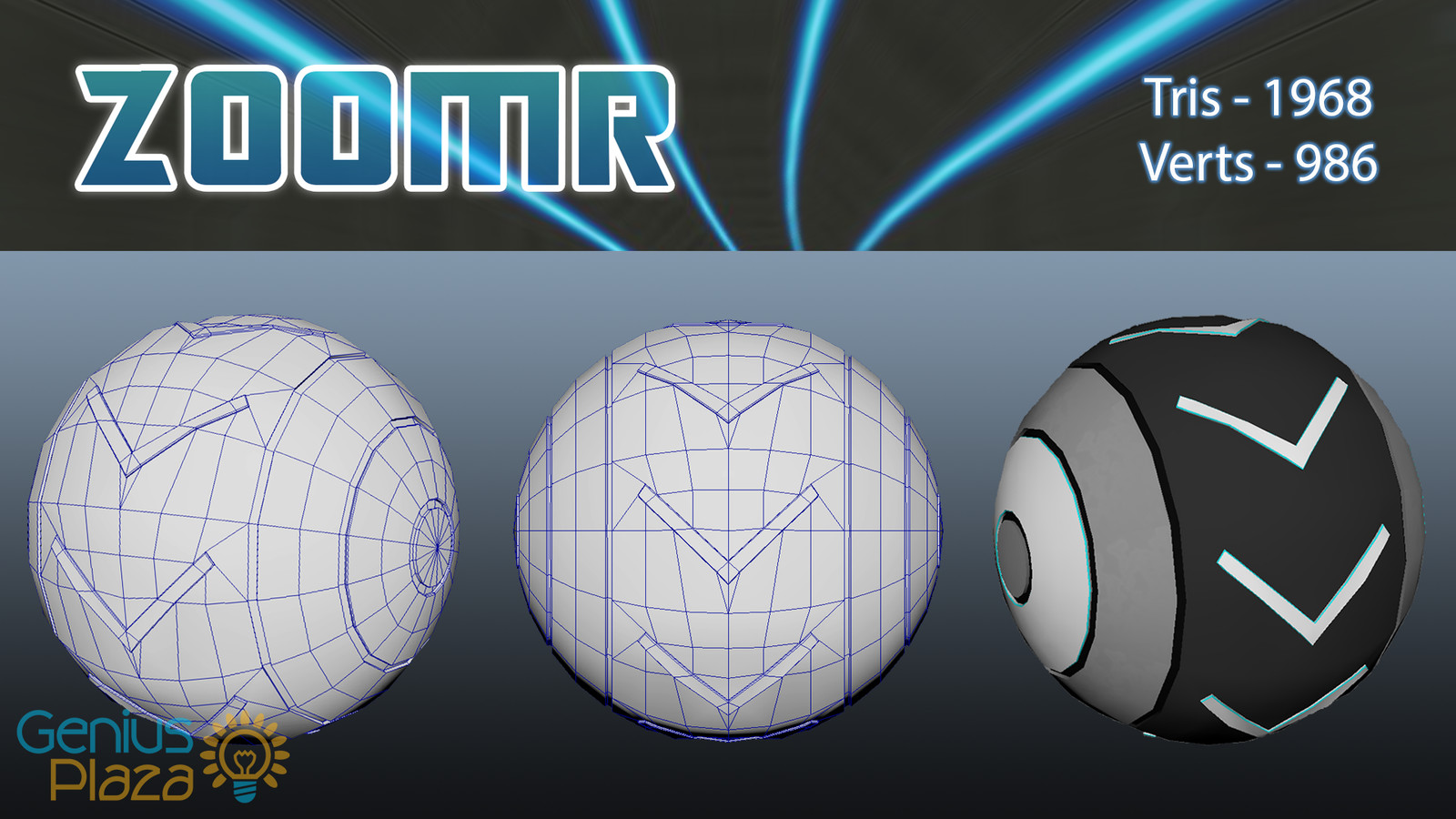 A breakdown of the model for the player's avatar rolling down the futuristic tunnel in Zoomr.