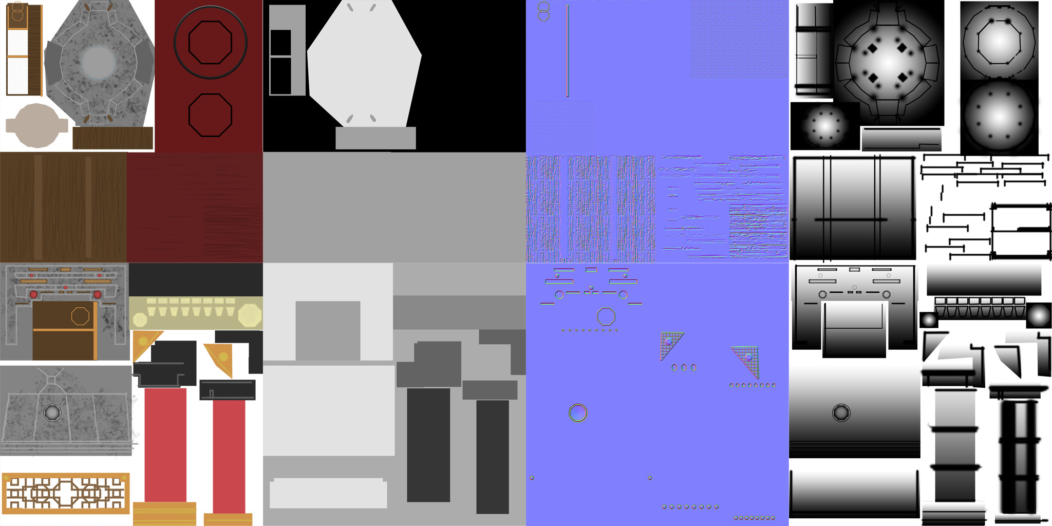 The two texture atlases for primary environment assets. Color, specularity, normal, and occlusion textures for each.