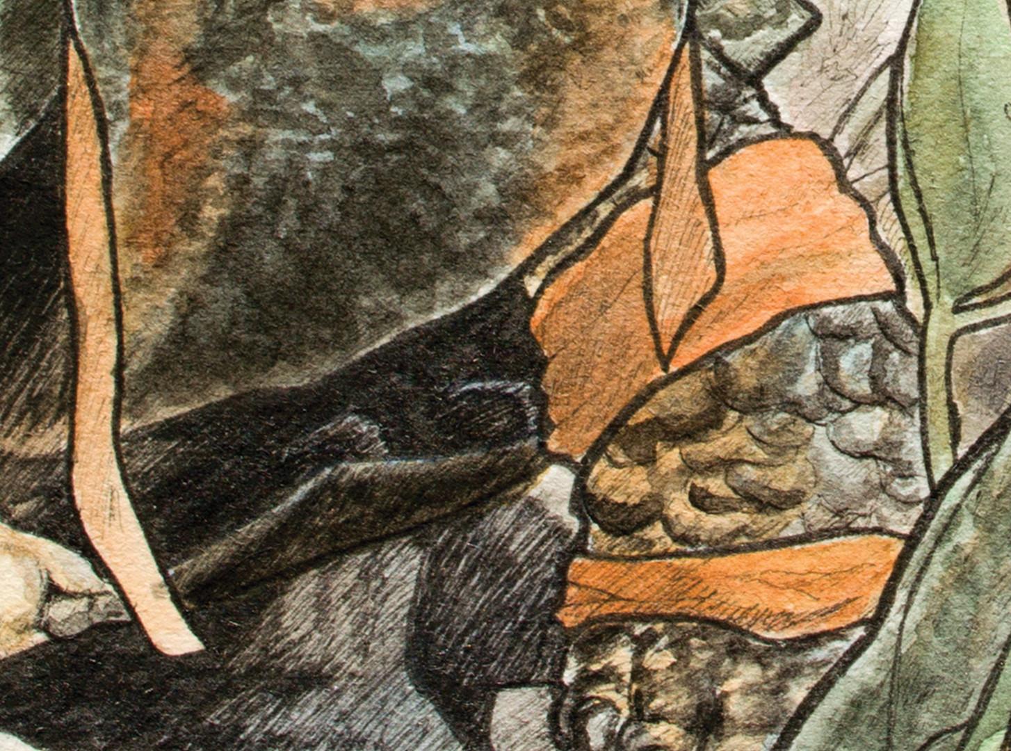 Michelangelo neck and leg detail
