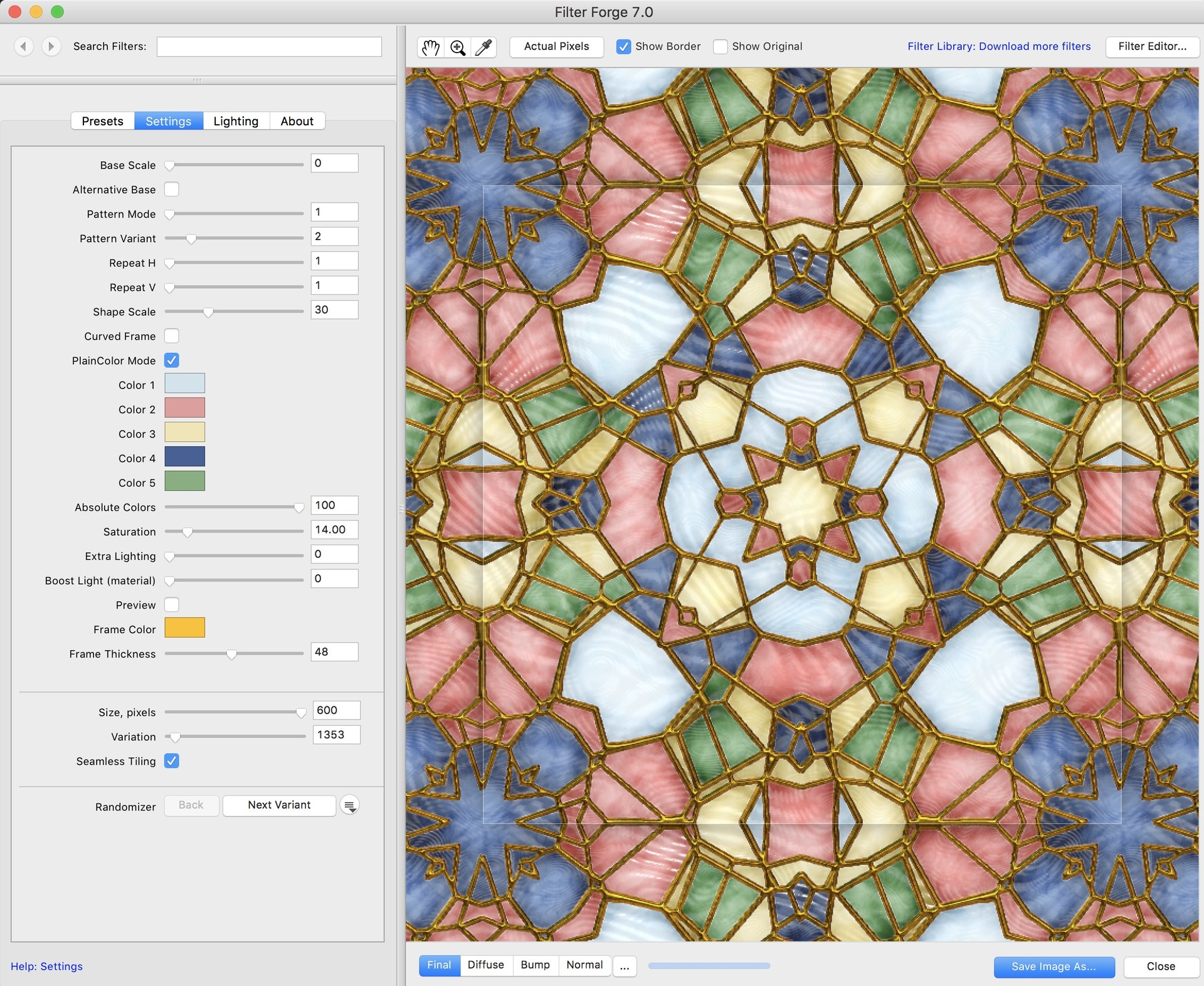 I made a simple stained glass generator a few years ago in FilterForge. So I decided to use that for this project.