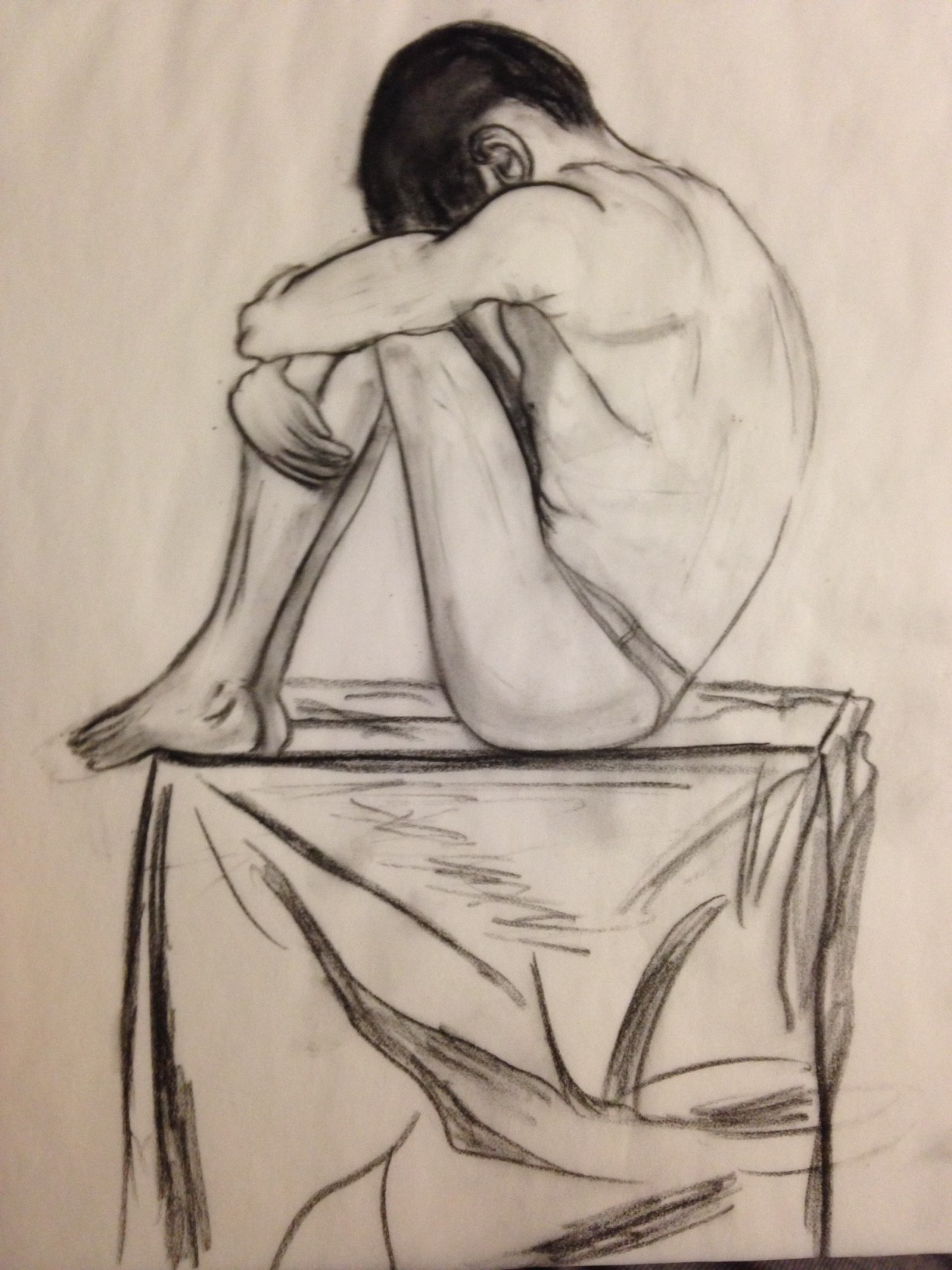 Sad man figure drawing