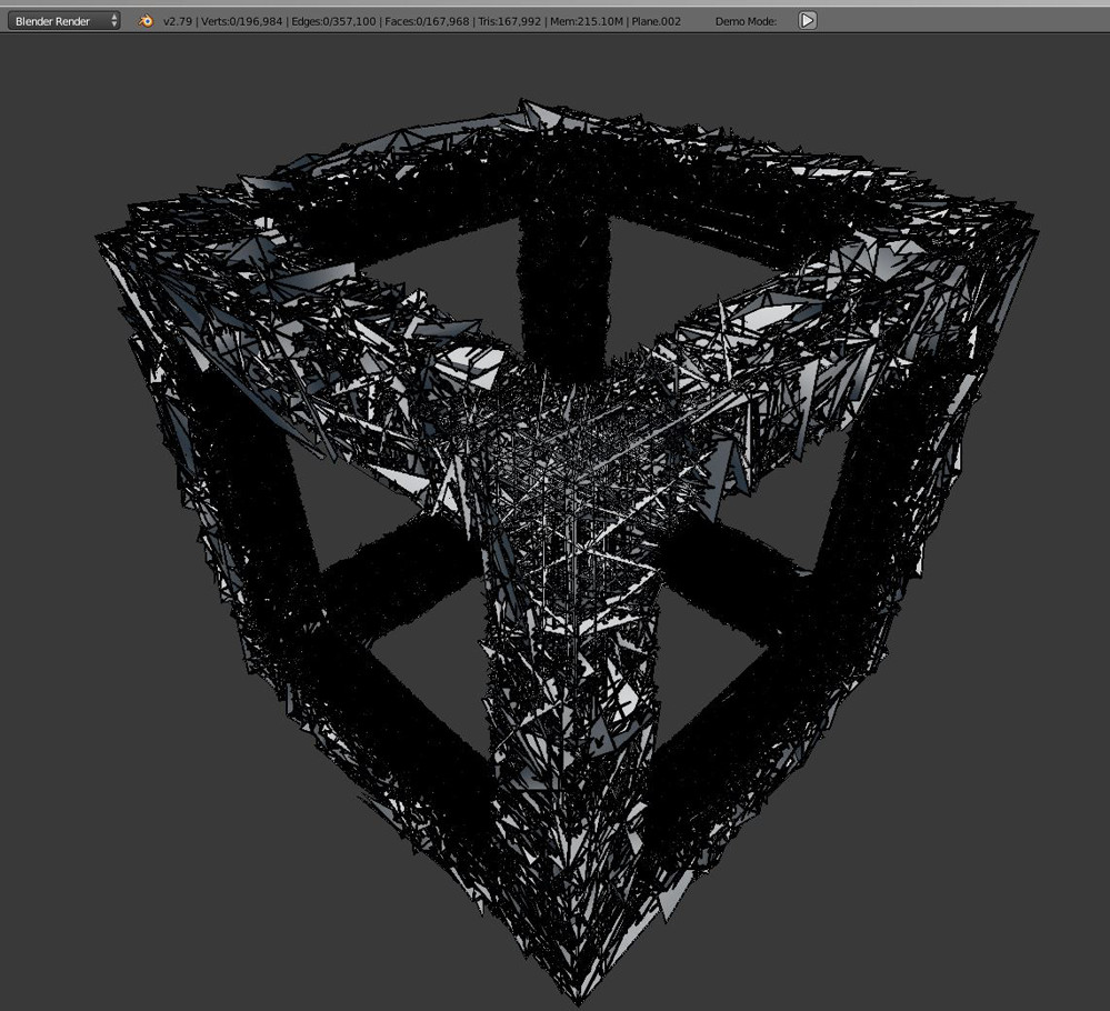 The mesh of the cube in Blender