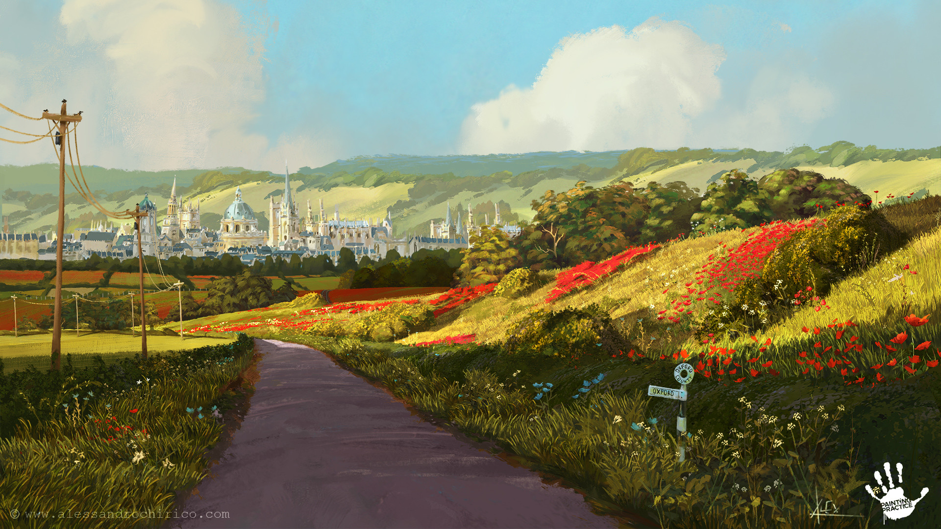 Oxfor countryside - Rafael Martin painted the city in the background.