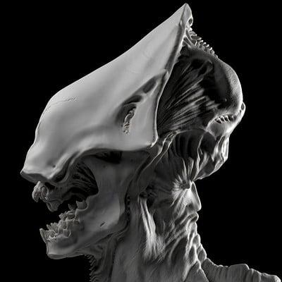 Skull Alien Bust