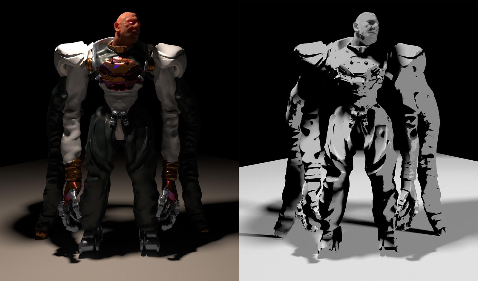 Character renders in Blender.