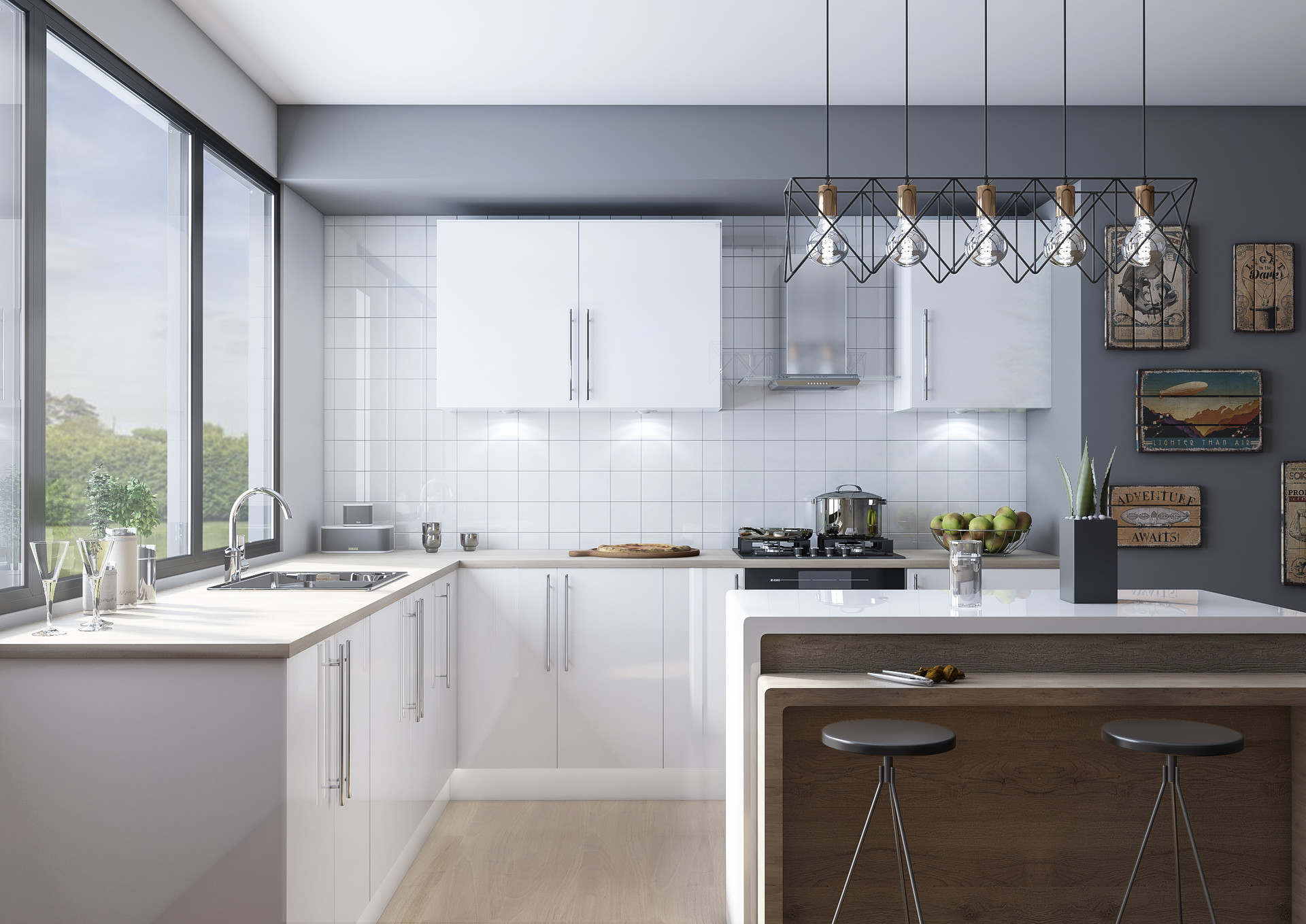 Artstation Ultragloss White Slab Door Kitchen Lucy Kisielewska