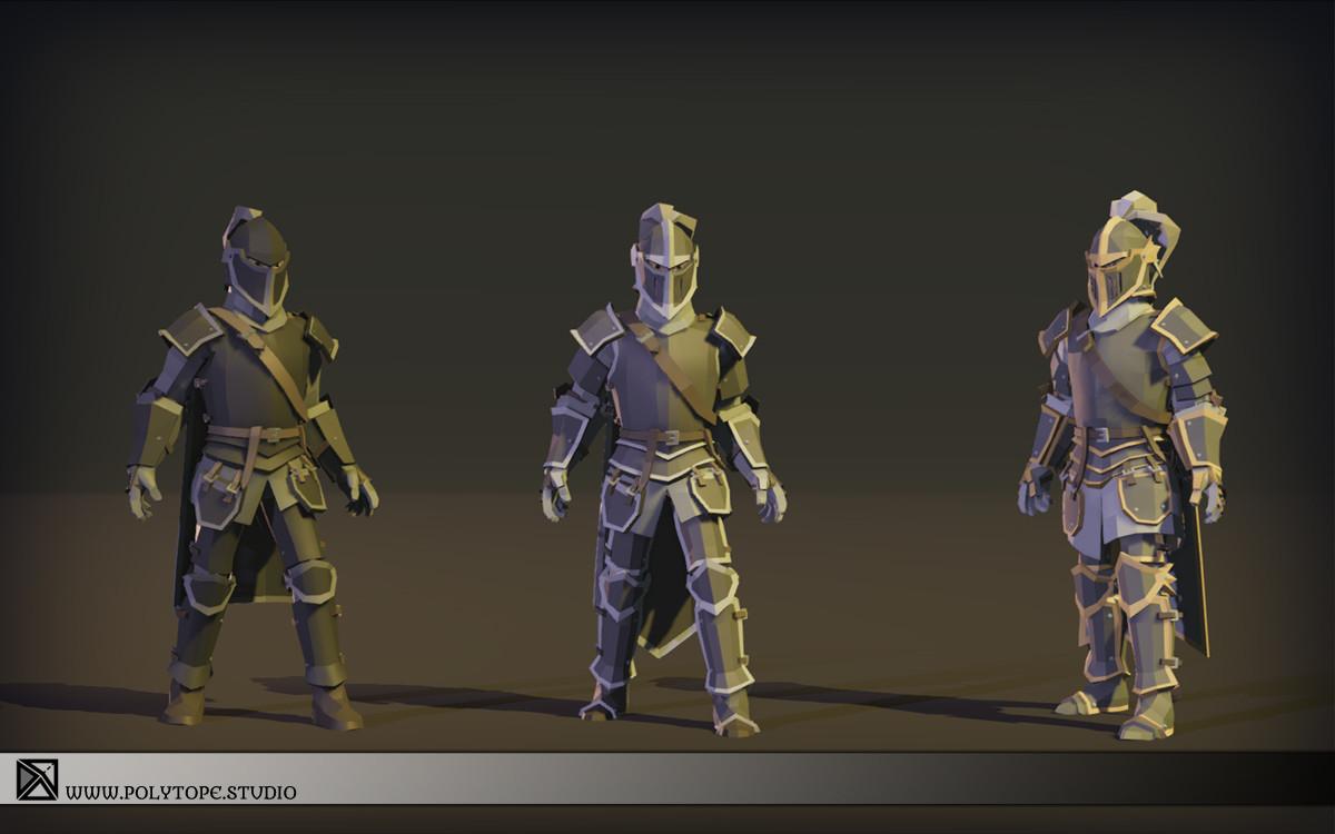 Polytope studio pt medieval lowpoly armor sets modular set2