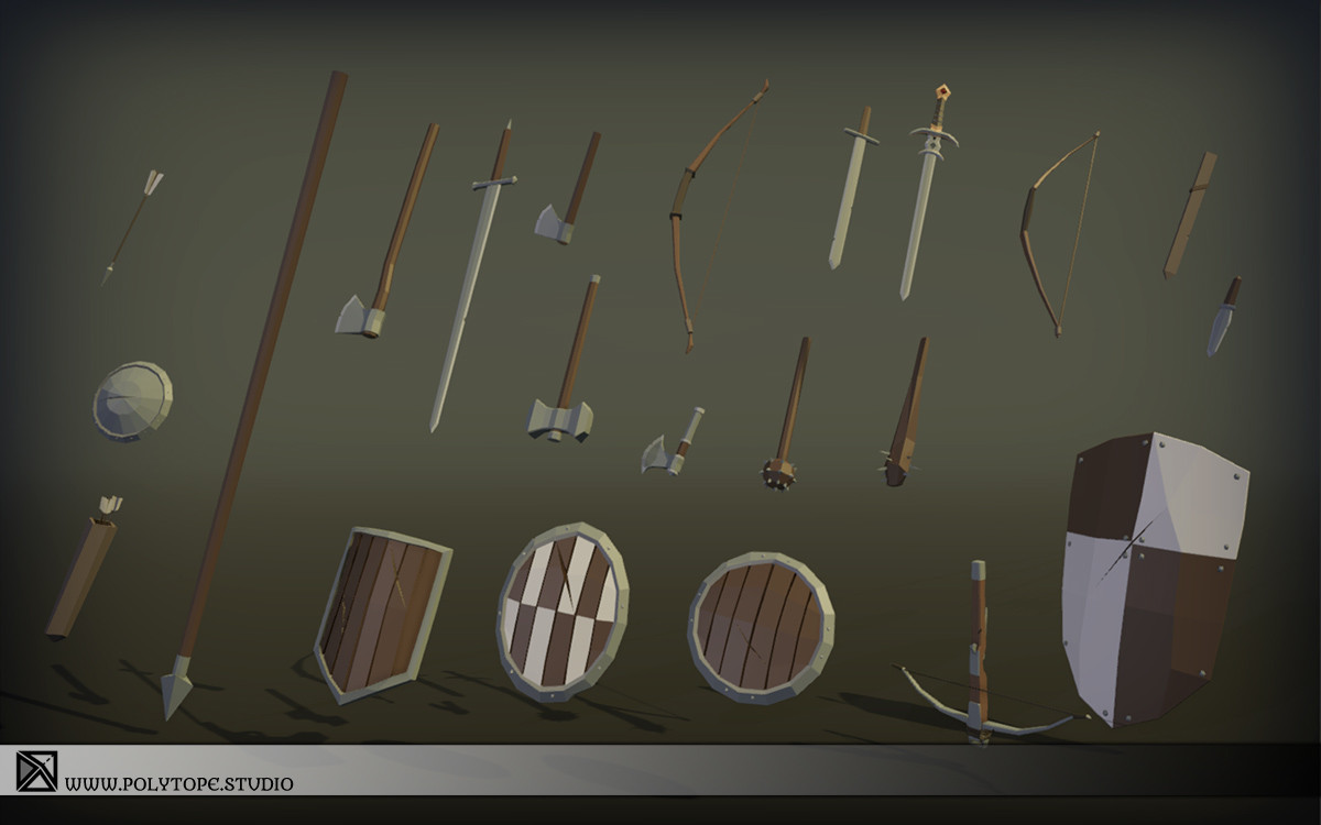 Polytope studio pt medieval lowpoly armor sets weapons