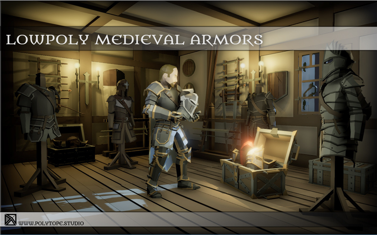Polytope studio pt medieval lowpoly armor sets diorama