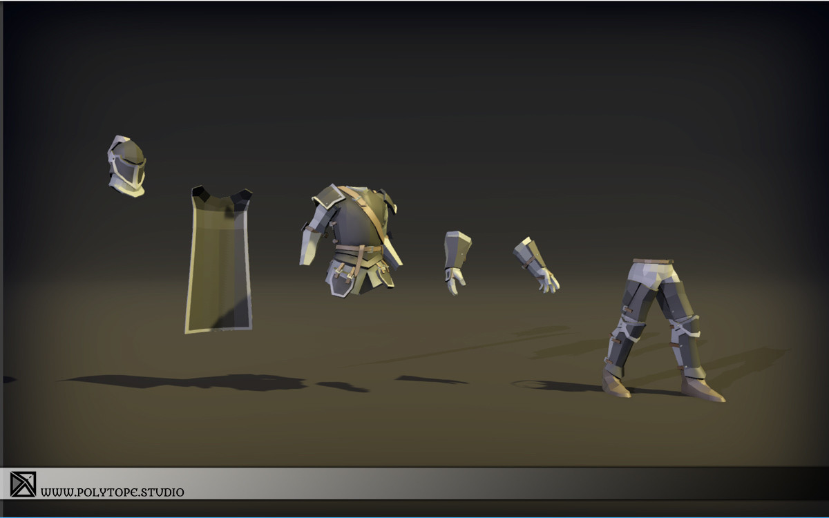 Polytope studio pt medieval lowpoly armor sets modular parts