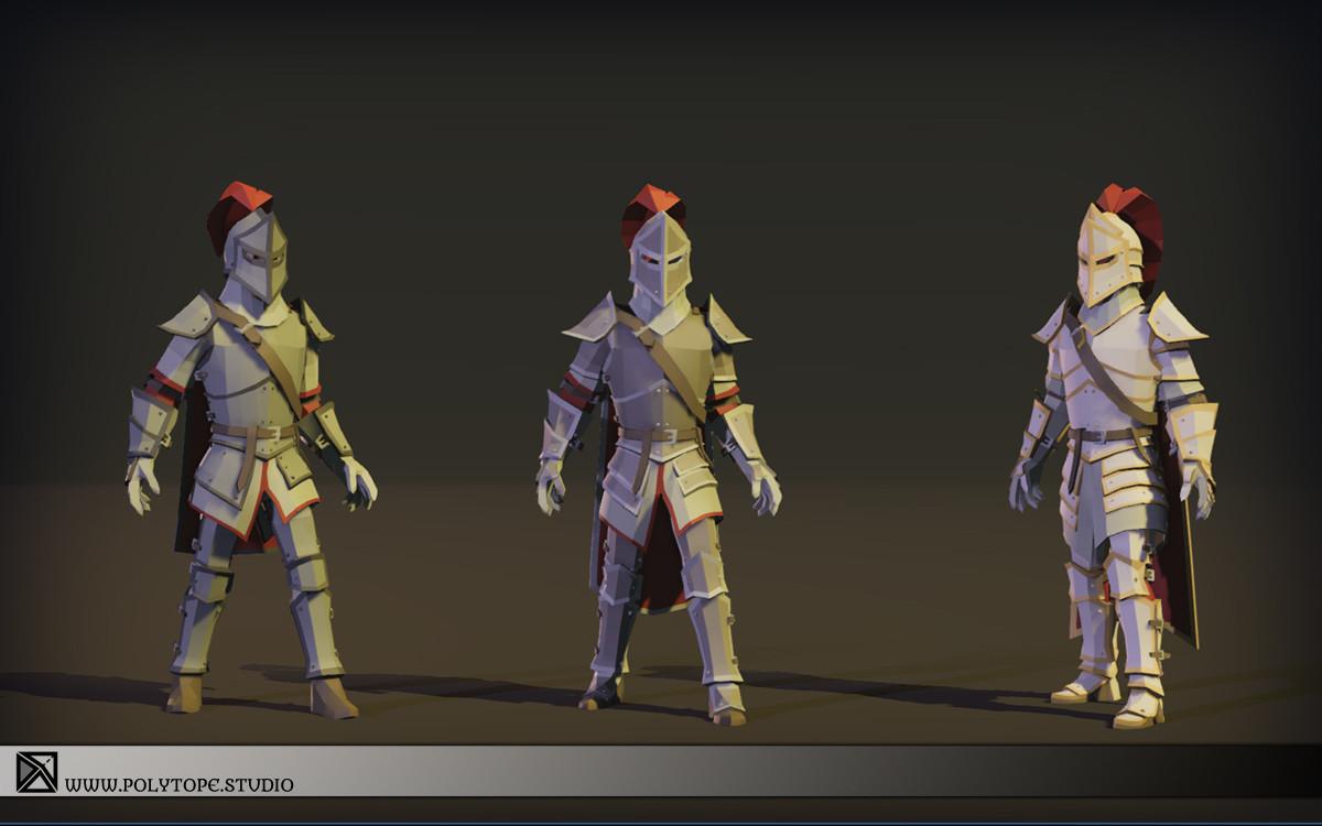 Polytope studio pt medieval lowpoly armor sets modular set1