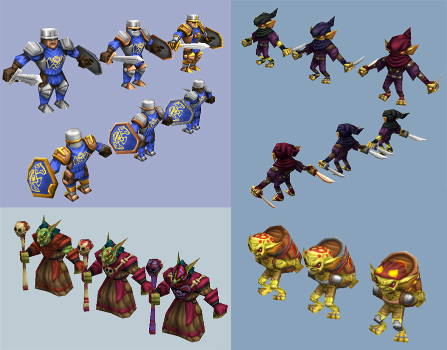 Each unit has skin variations for different upgrades