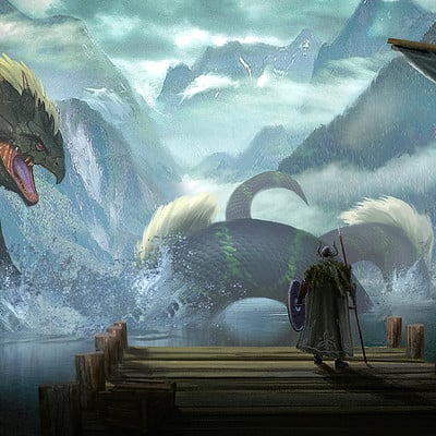 Travis lacey viking water dragon leviathan travis lacey concept art snake monster web