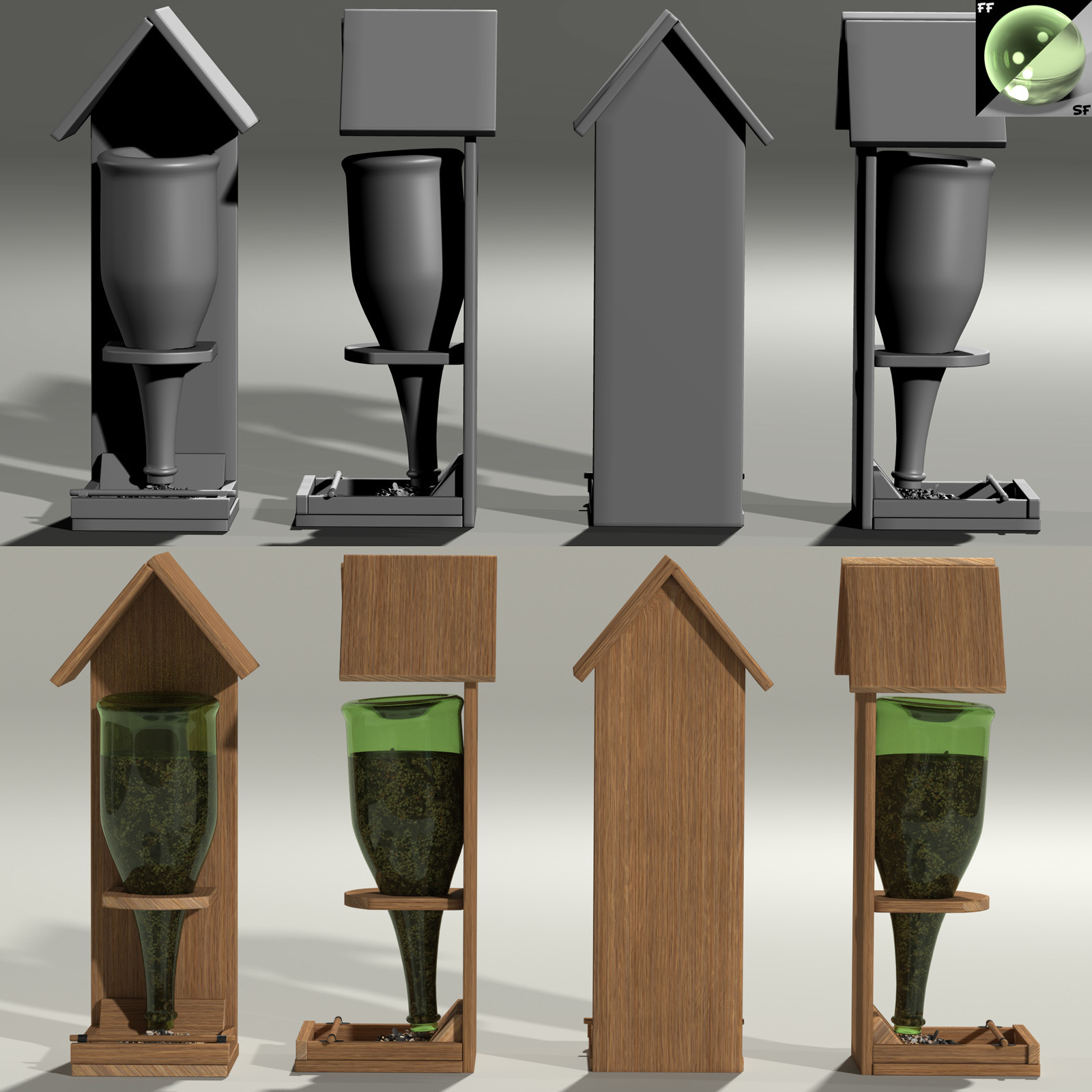 This is a 360 degree turnaround of the champagne bottle-based feeder, rendered in Poser with SuperFly/Cycles.