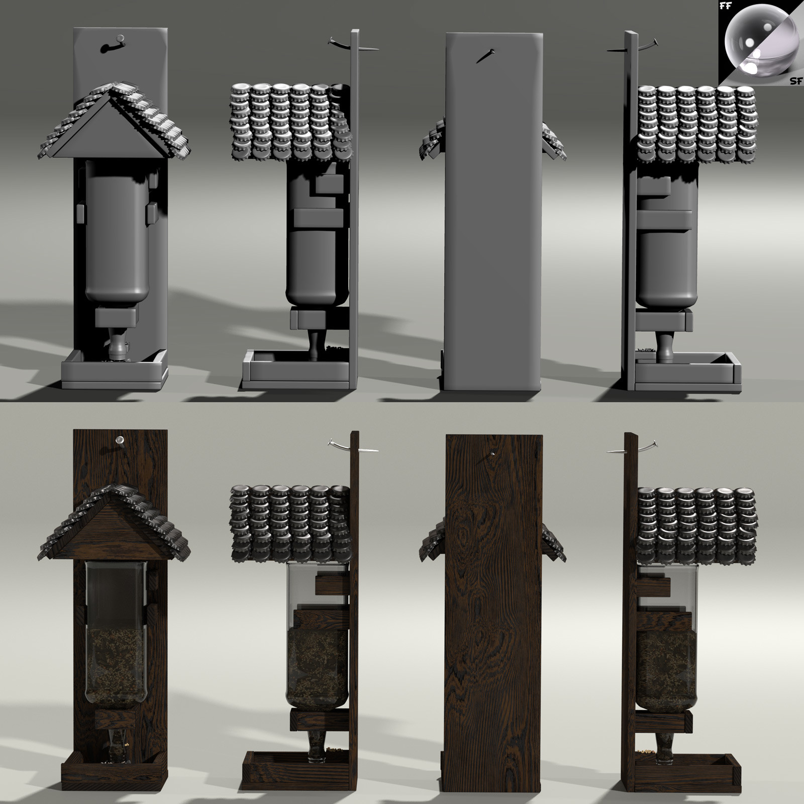 This is a 360 degree turnaround of the whiskey bottle-based feeder, rendered in Poser with SuperFly/Cycles.