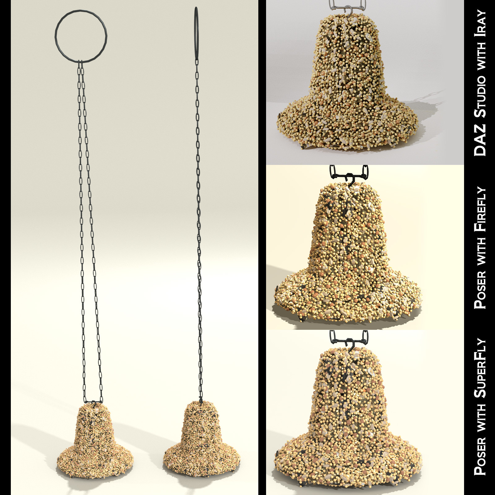 This shows the front and side views of the bell-shaped seed cakes, along with closeup examples of how it looks inside each render engine.