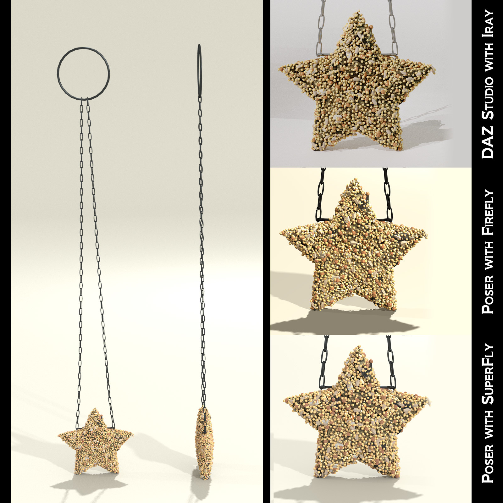 This shows the front and side views of the star-shaped seed cakes, along with closeup examples of how it looks inside each render engine.