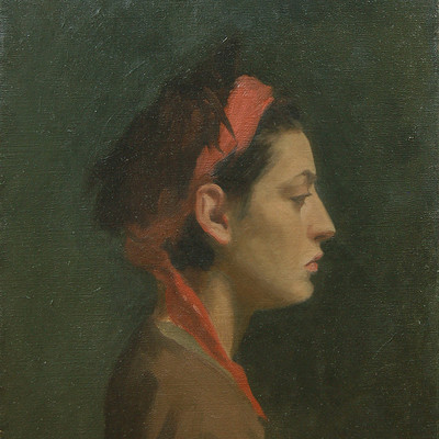 Drew lantrip 2009 girl with red scarf 300x400mm