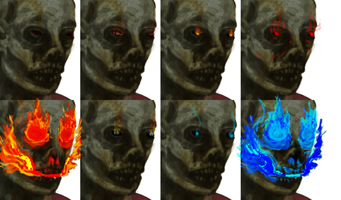 WIP ember level serves as gameplay signal of challenge rating  intensity of fire (from embers/glow to burning flames): skill/danger level heat level of fire (color temperature from red to blue): sanity/humanity, degree of speech and thought left