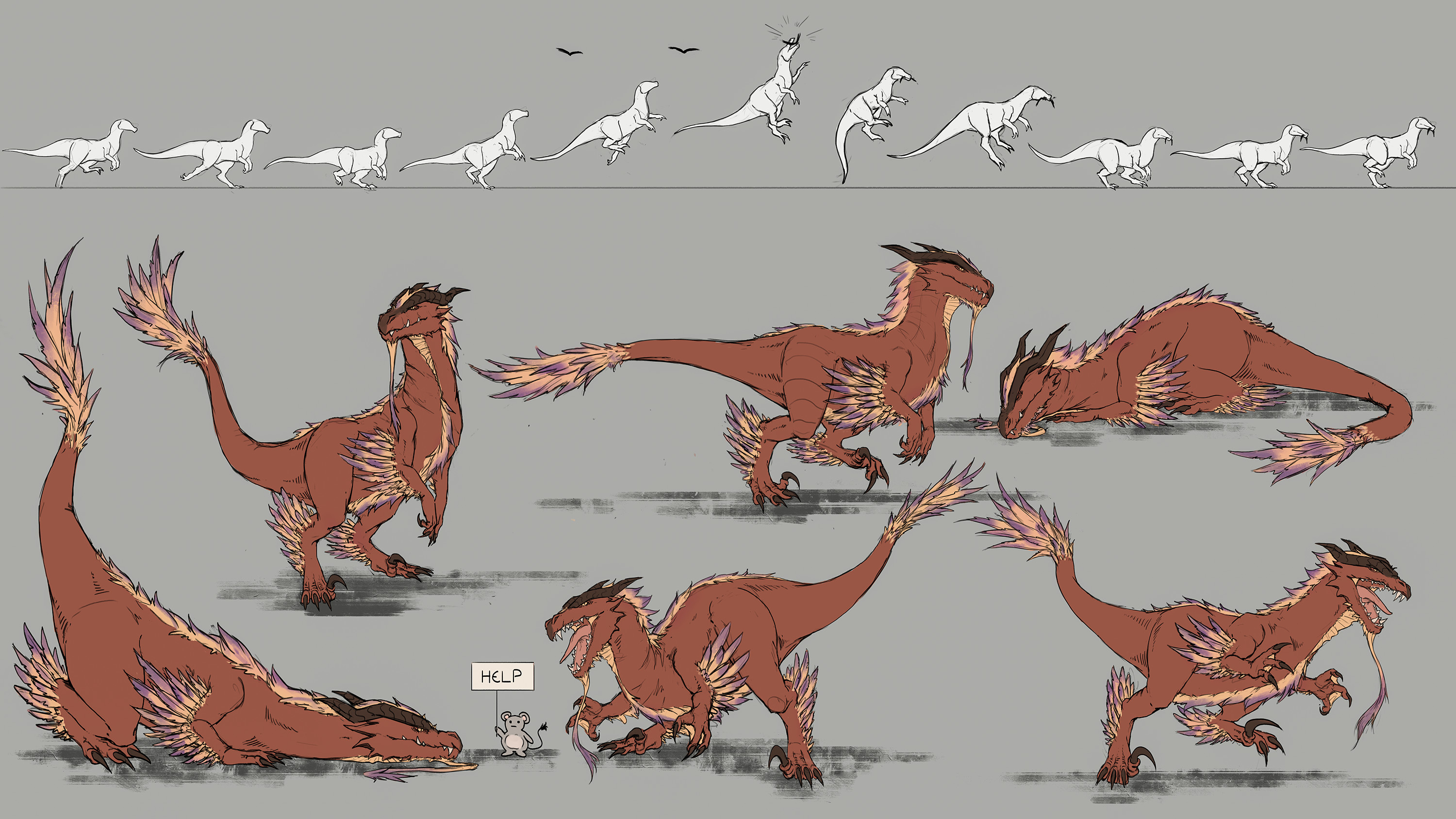 Examples of movement and behavior of the raptor.