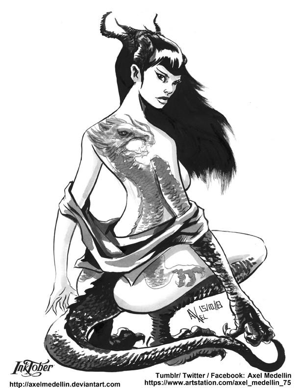 Inktober 15, Dragon girl