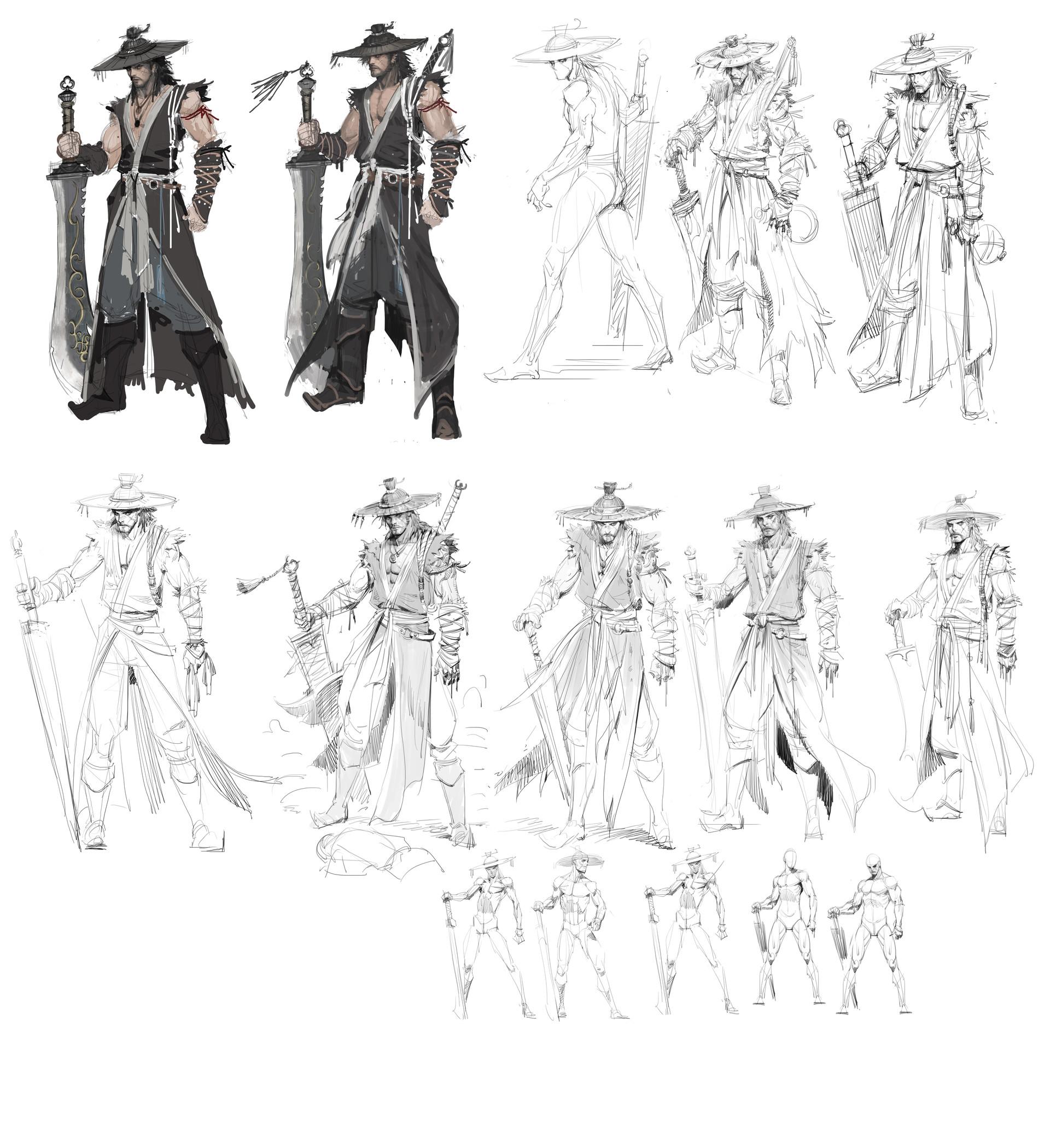 Artstation Sword Man Pose Skech Oh Chang Hun