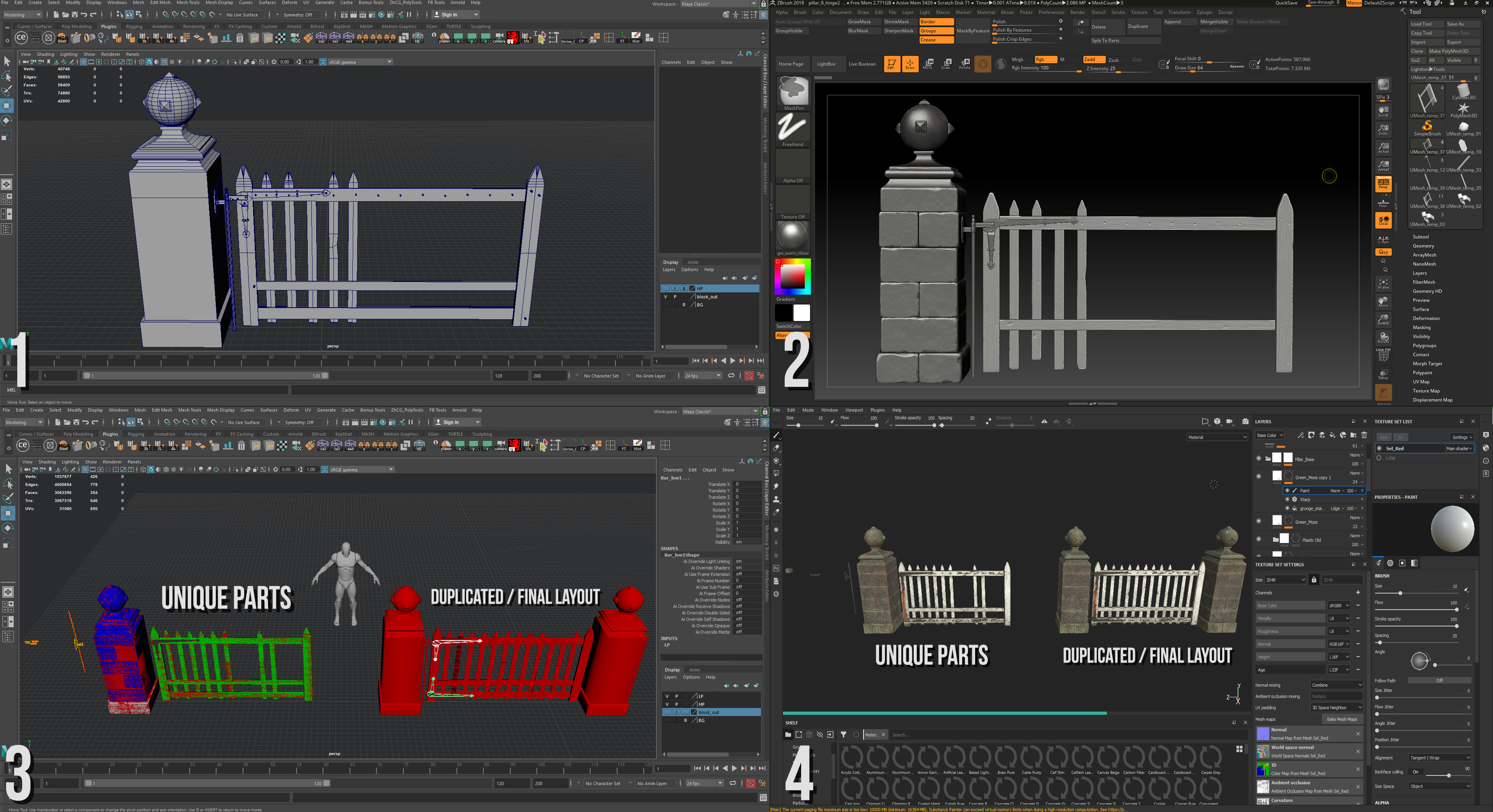 Since this asset was only aloud a single 2k material, I knew I'd have to reuse parts throughout the mesh wherever I could. The pillar and planks were reused and rotated to create a fully unique looking final version of the gate.