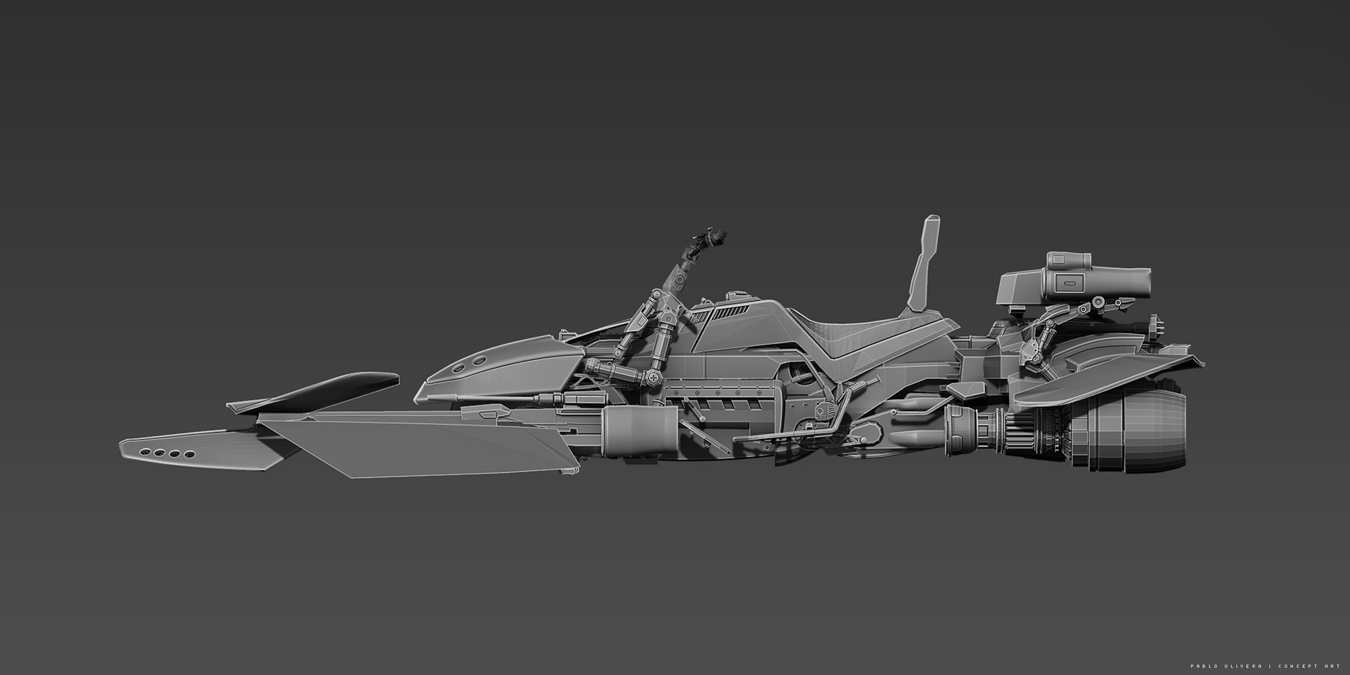 Pablo olivera concept 02 speeder bike star wars boba fett vista lateral v02 black crudo baja