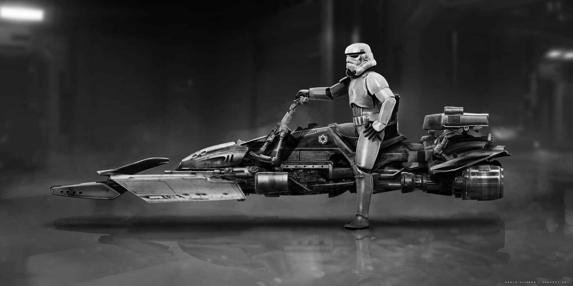 Pablo olivera concept 02 speeder bike star wars boba fett vista lateral v02 black