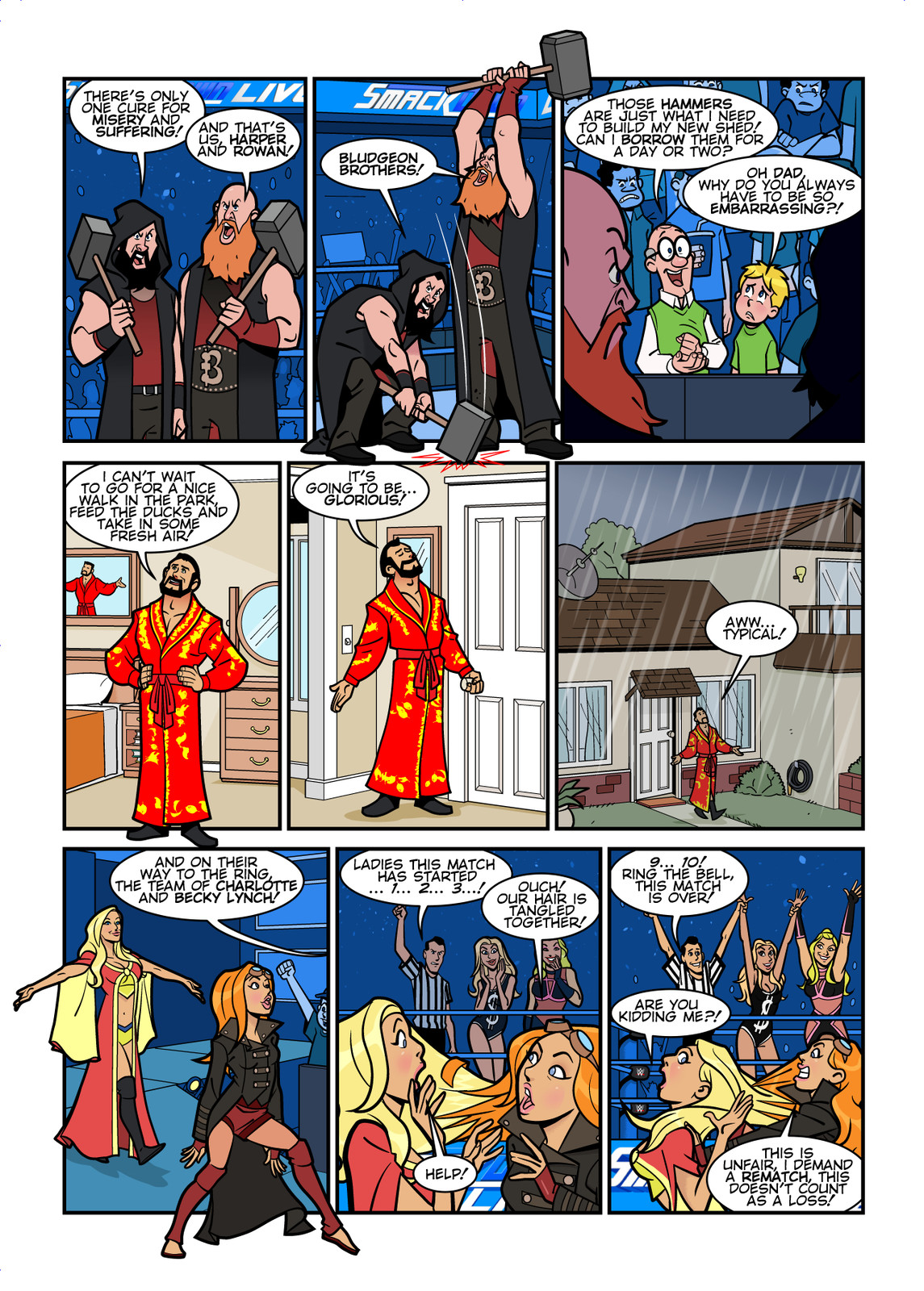 WWE Smackdown Live comic strips for WWE Kids Magazine #132