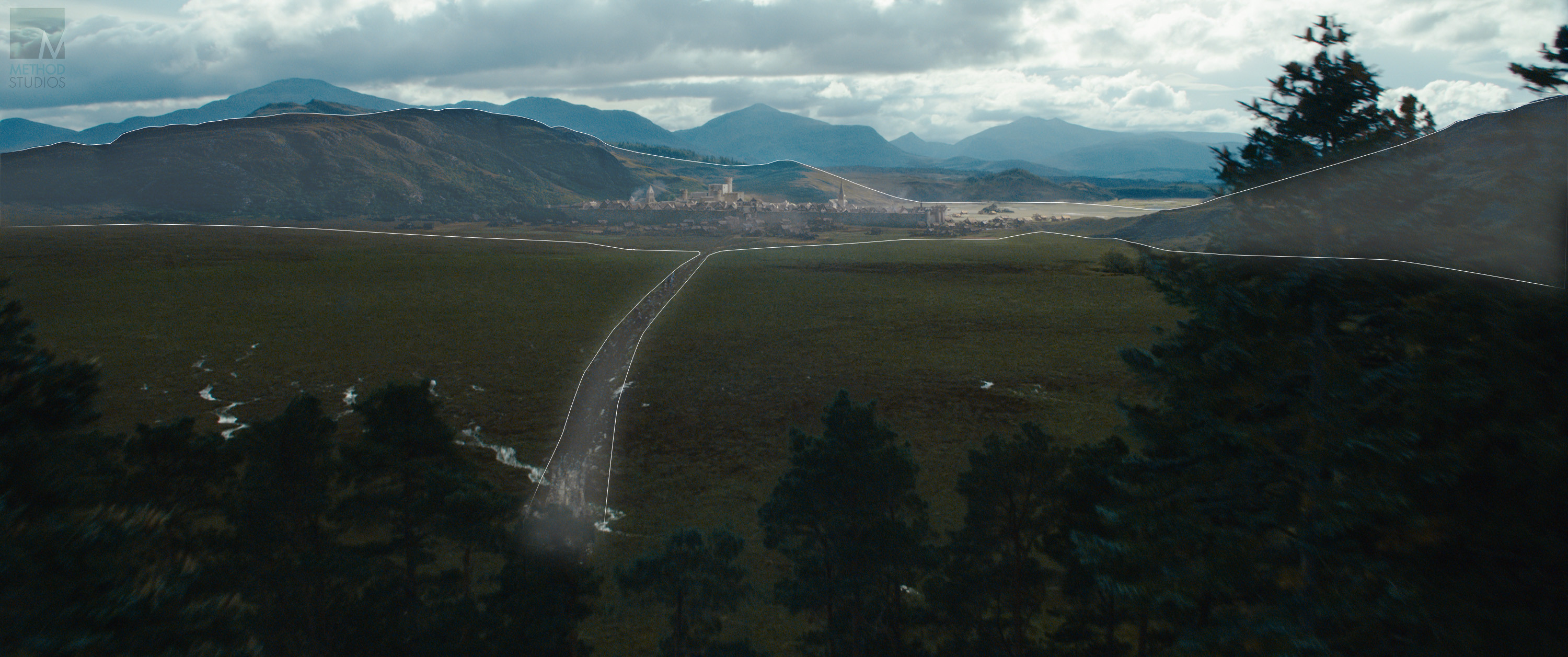 Areas edited in matte painting stage