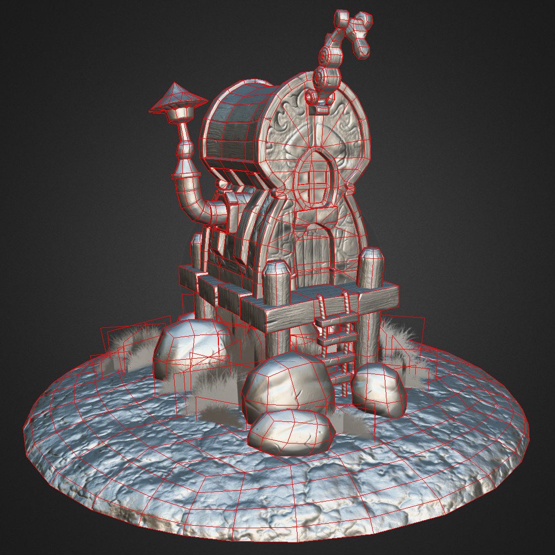 Stilt House - Matcap Surface and Wireframe