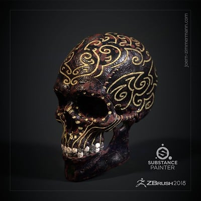 Joern zimmermann jz metalskull zbrush sp ornamental