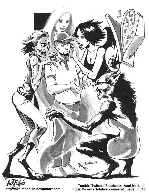Inktober 28. A group of monster girls together.