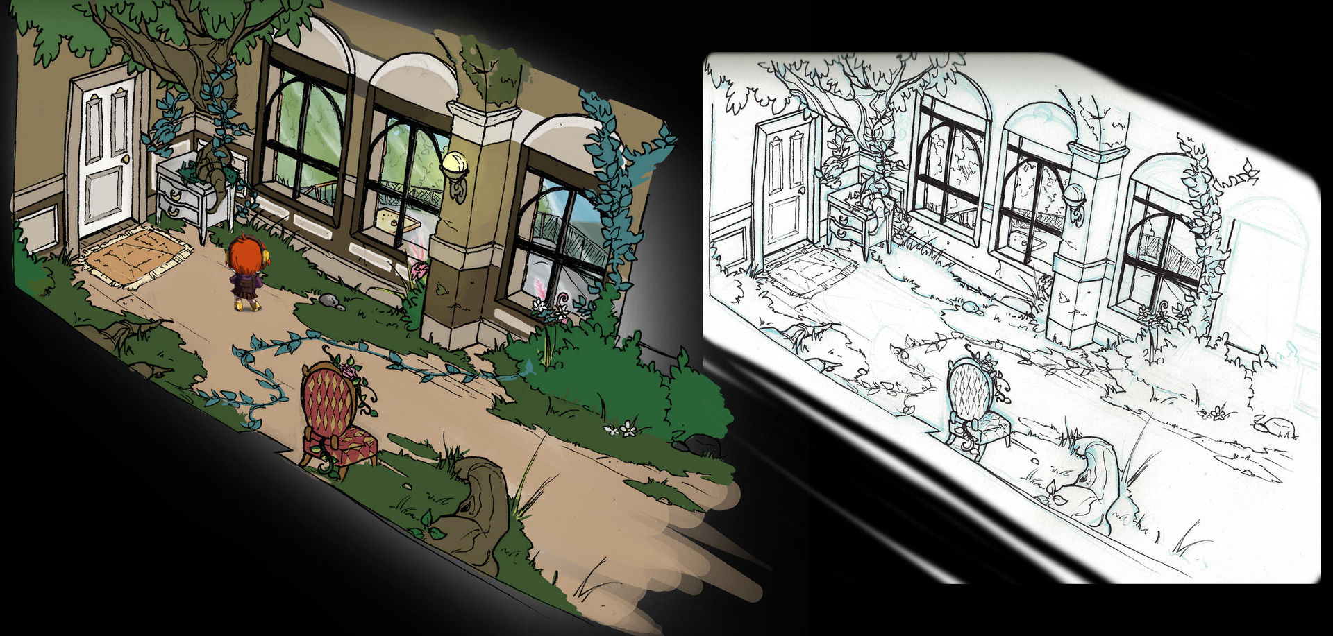 Concept art how the project could look with the  high camera angle.