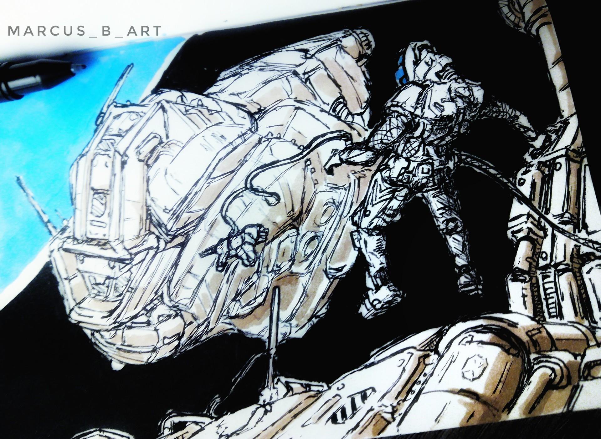 ArtStation - SPACESHIPS PEN SKETCHES , Marcos Barrios Muñoz