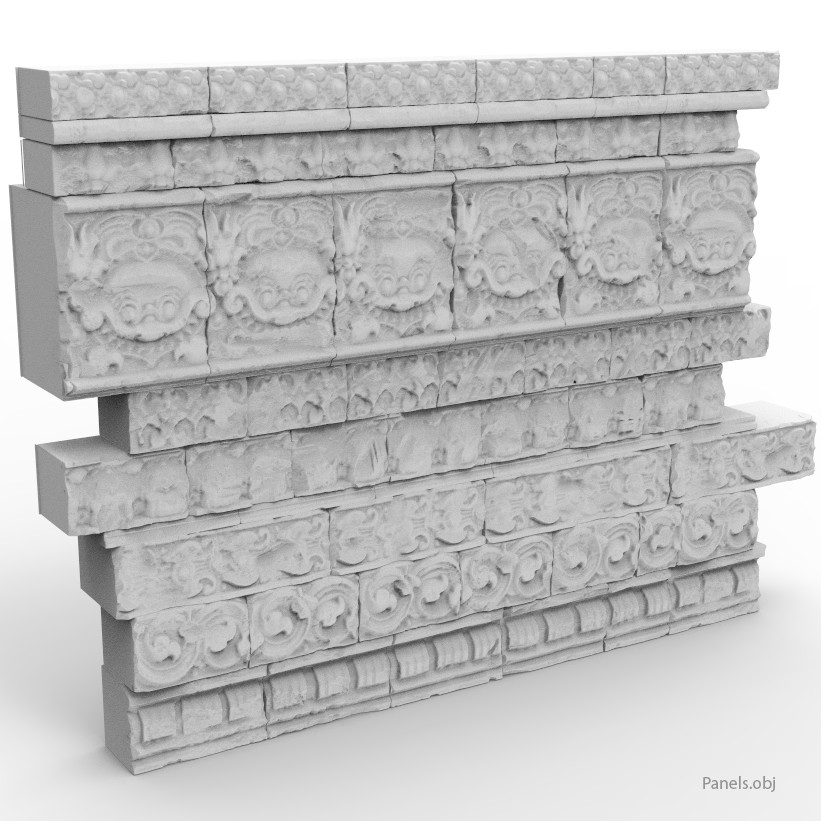 High poly panels ready for tileable baking