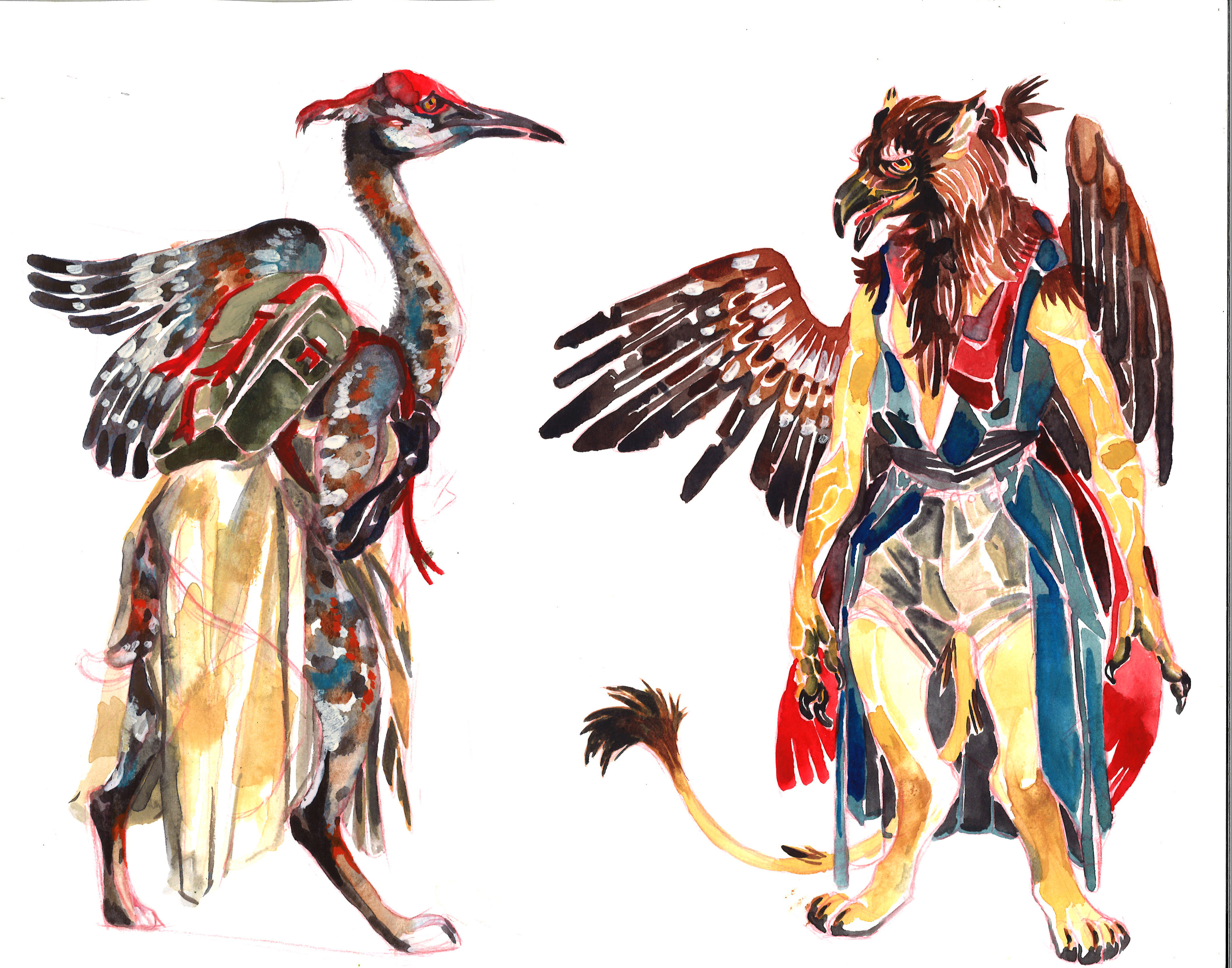 sandhill crane/lynx and golden eagle/lion