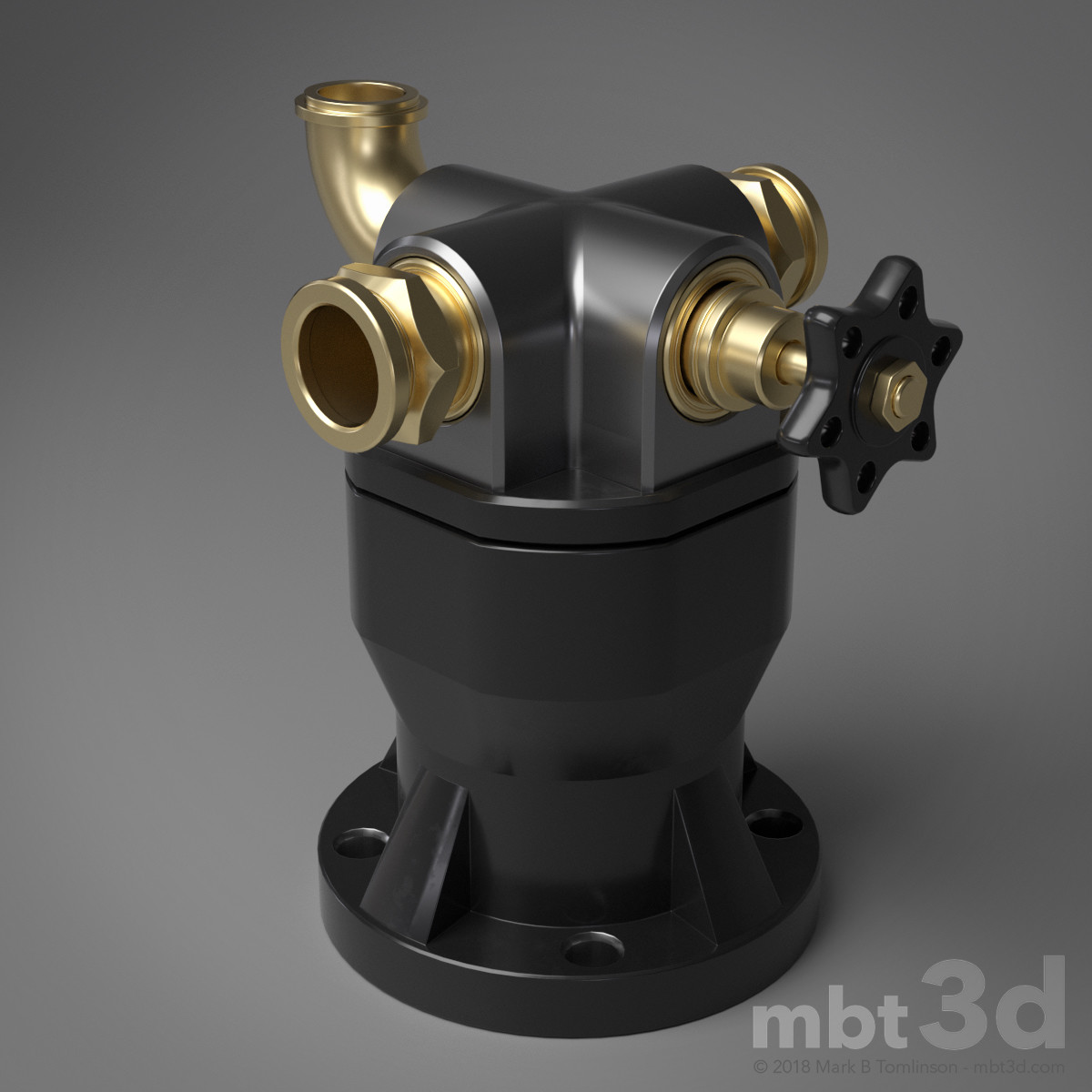 Box XVII: Hard surface model valve handle intake